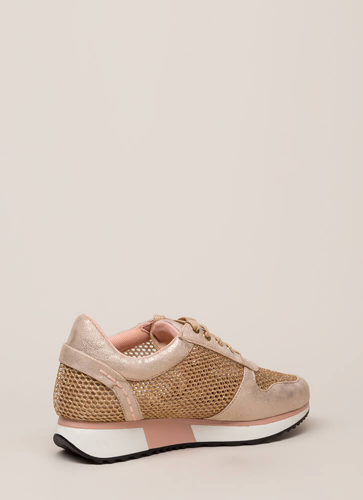 What's The Catch Netted Sneakers CHAMPAGNE