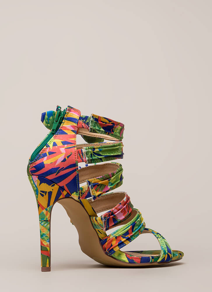 Bow Get 'Em Strappy Pleated Heels MULTI