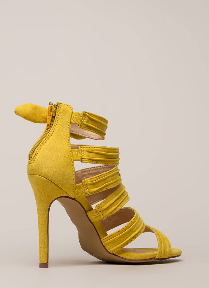 Bow Get 'Em Strappy Pleated Heels YELLOW