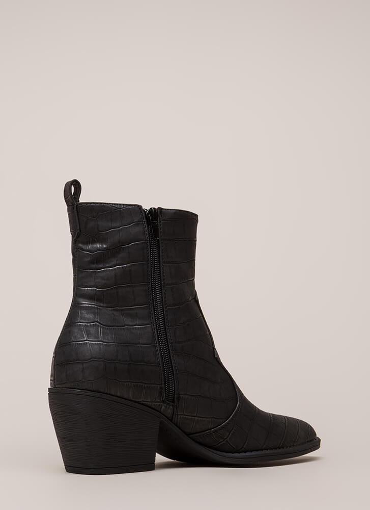 In A While Crocodile Block Heel Booties BLACK (You Saved $38)