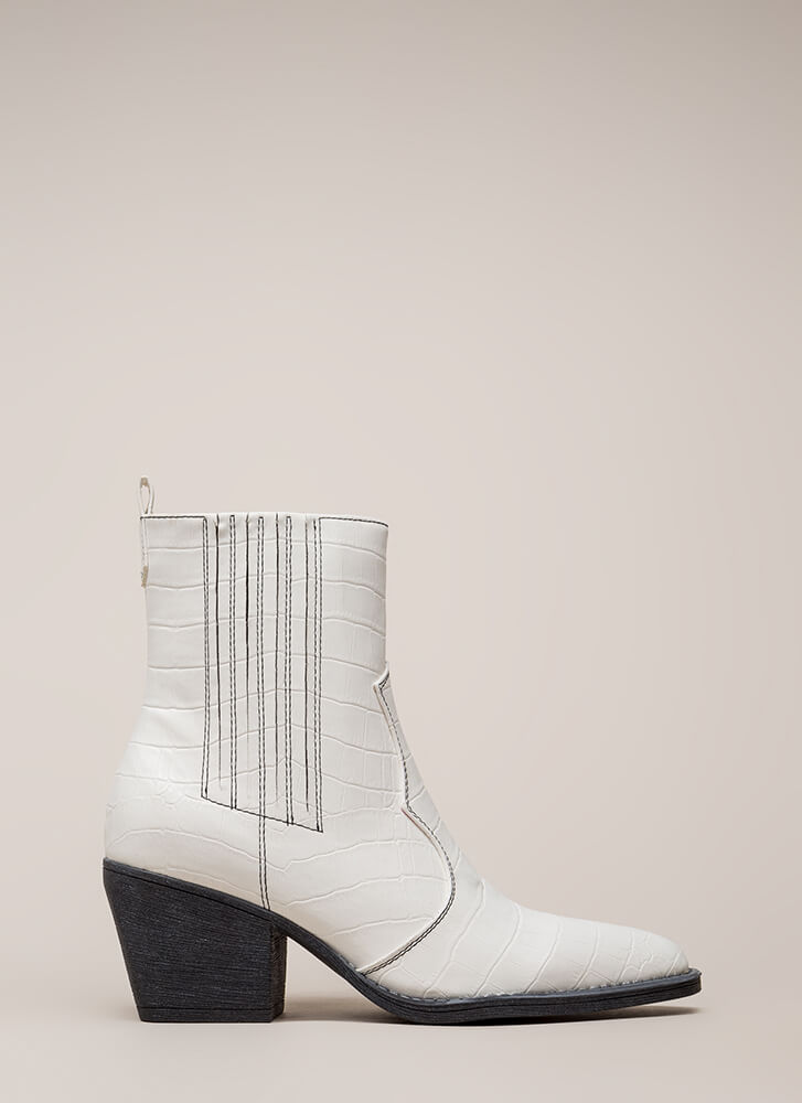 In A While Crocodile Block Heel Booties WHITE (You Saved $38)