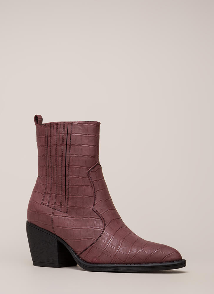 In A While Crocodile Block Heel Booties WINE (You Saved $38)