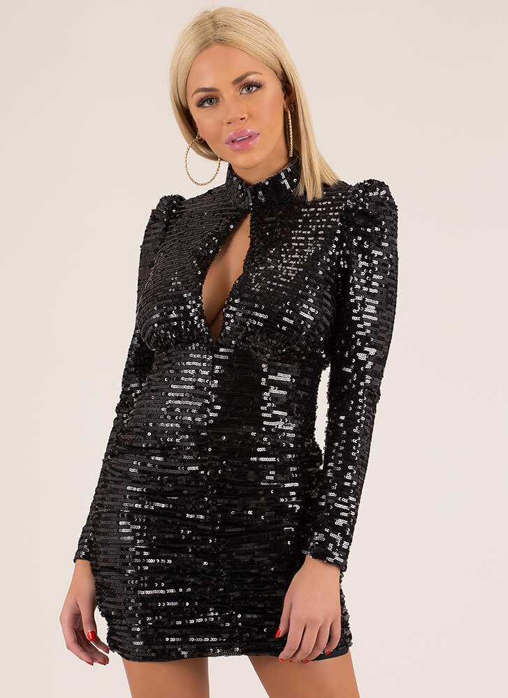All Night Long Sequined Minidress BLACK (Final Sale)