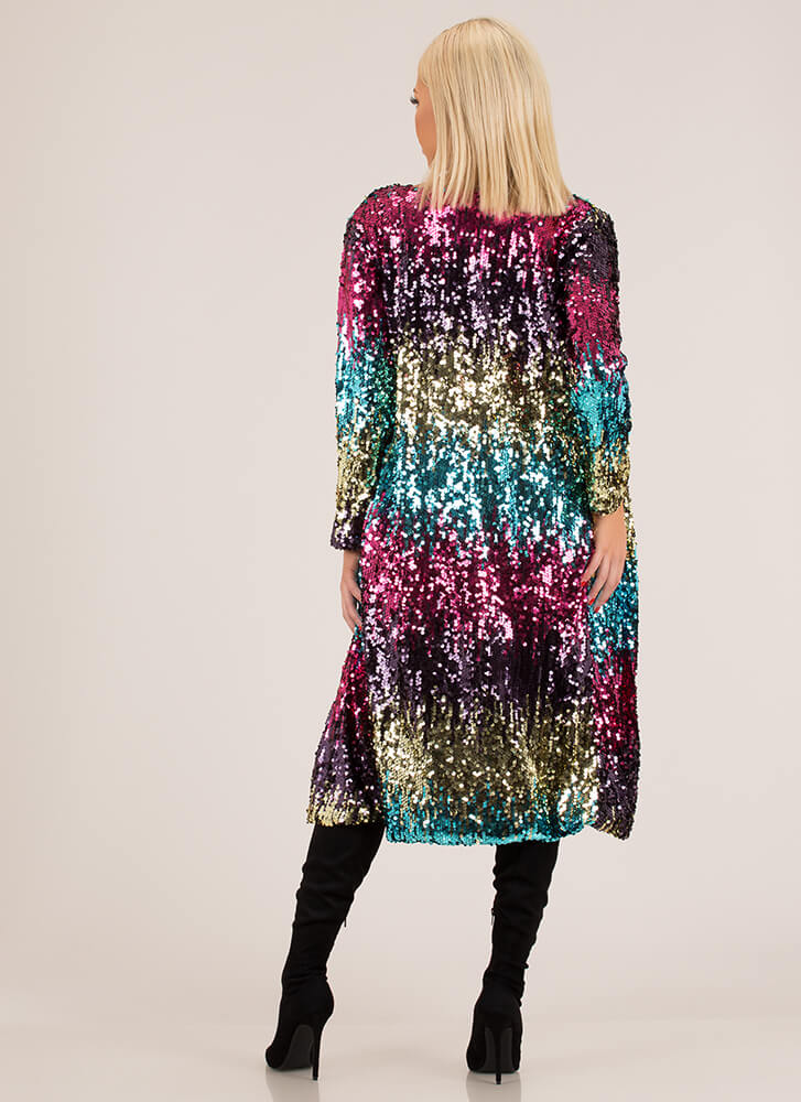 Serious Sparkle Ombre Sequined Duster MULTI