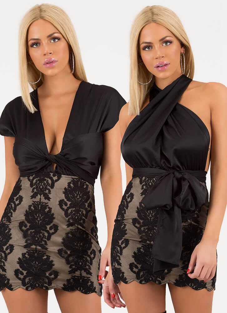 All The Ways Convertible Lace Minidress BLACK
