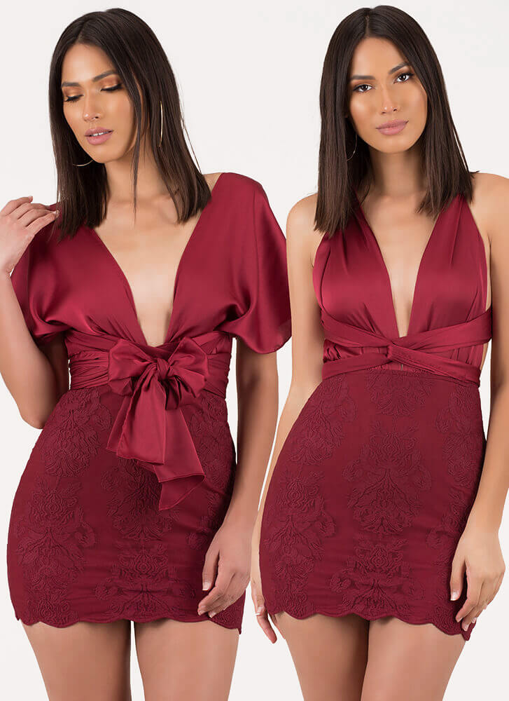 All The Ways Convertible Lace Minidress BURGUNDY