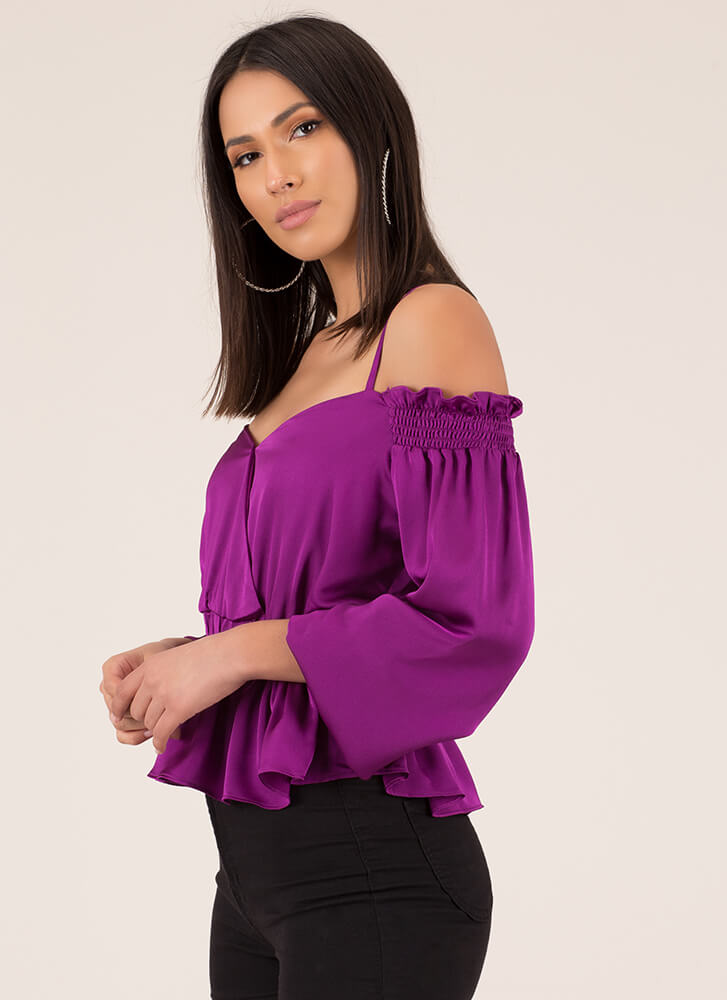 Frilly Weather Cold-Shoulder Peplum Top PURPLE (You Saved $21)
