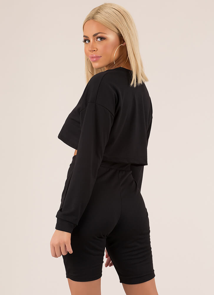Win The Match Zip-Up Top And Shorts Set BLACK