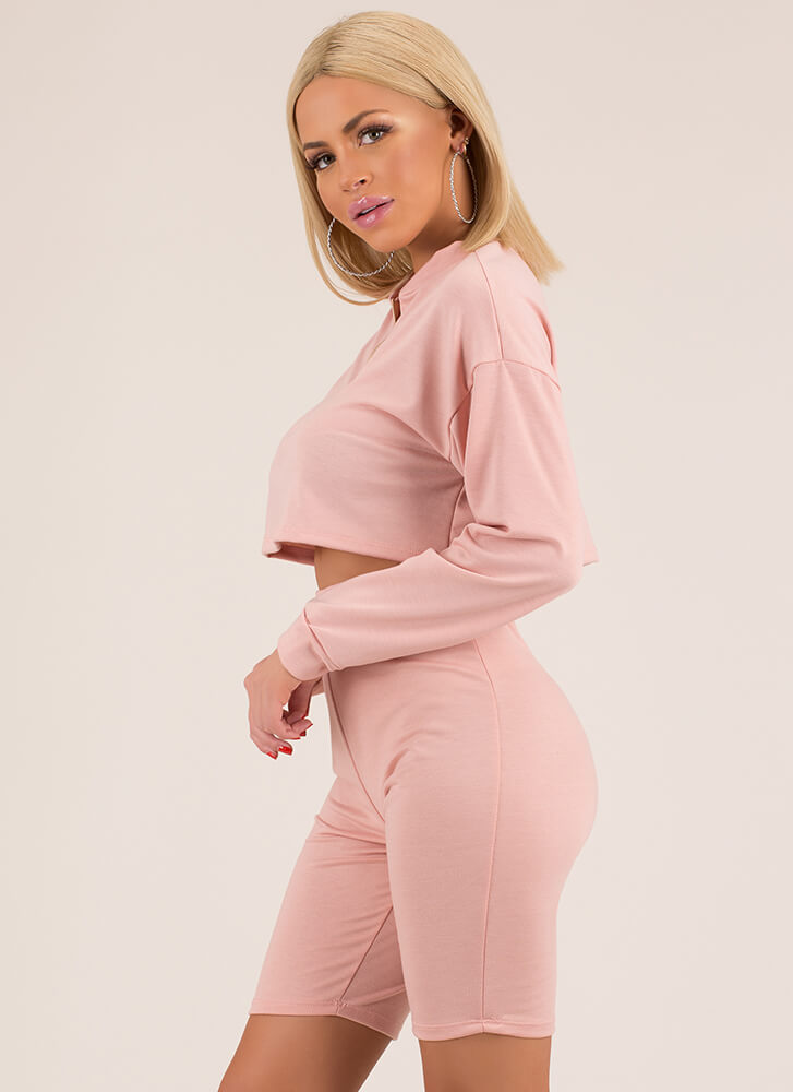 Win The Match Zip-Up Top And Shorts Set PINK