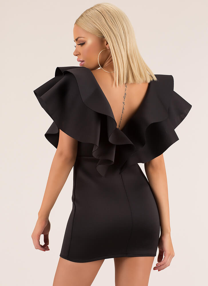 Flare For The Dramatic Ruffled Minidress BLACK