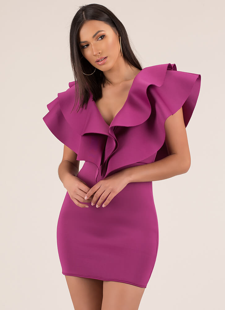 Flare For The Dramatic Ruffled Minidress FUCHSIA