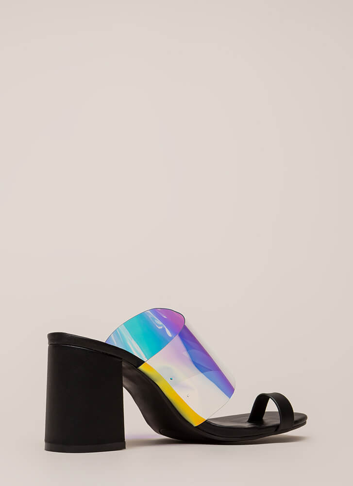 Keep Clear Chunky Holographic Mule Heels BLACK