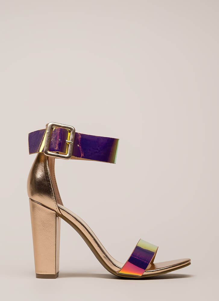 Time To Shine Chunky Holographic Heels MULTI