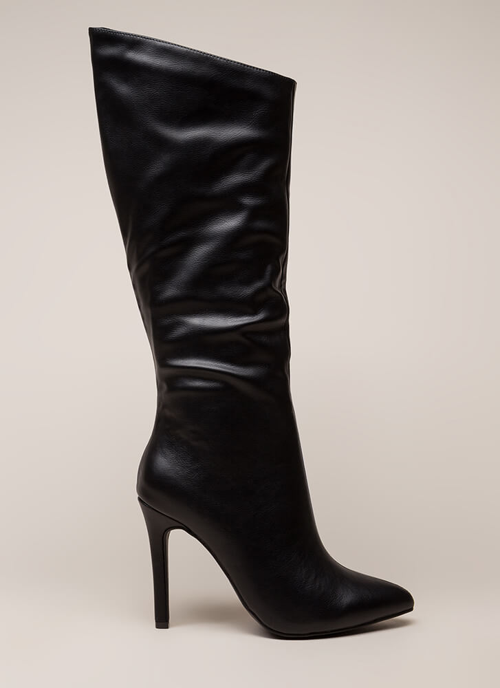 New Slant Pointy Faux Leather Boots BLACK