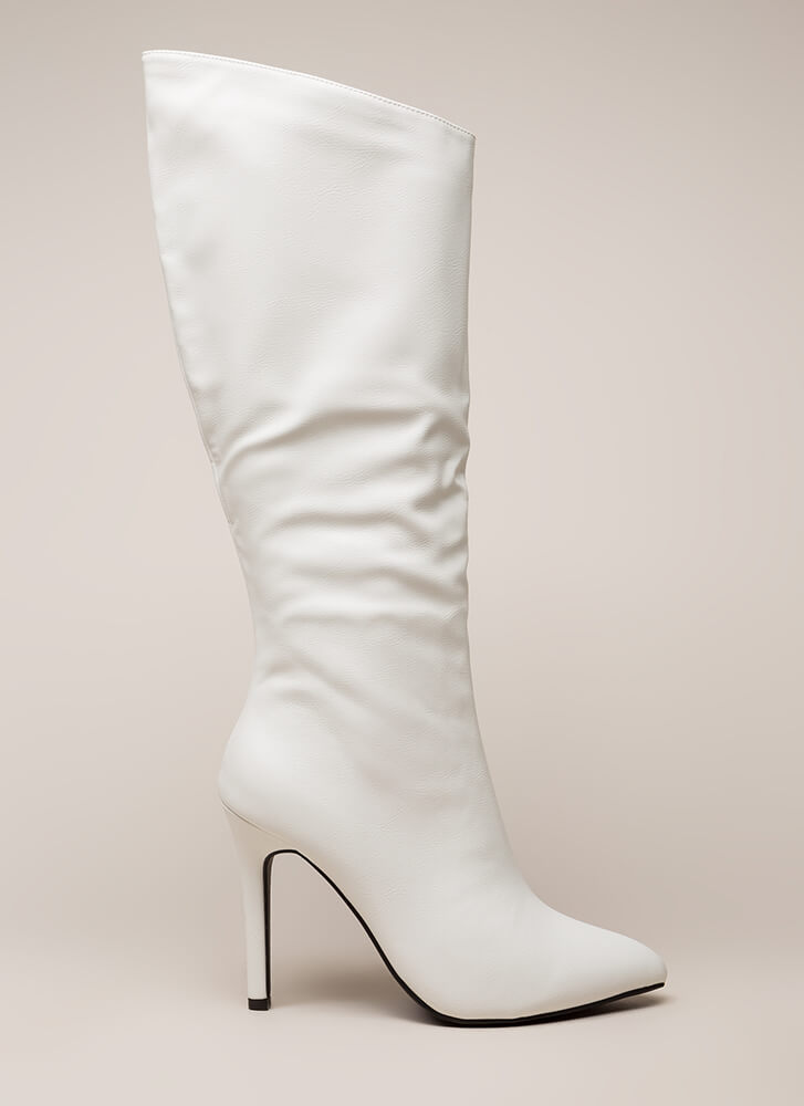 New Slant Pointy Faux Leather Boots WHITE