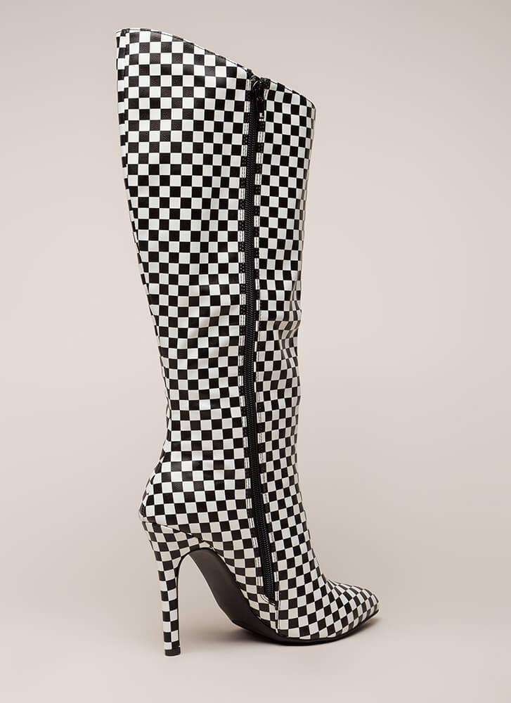 New Slant Pointy Checkered Boots BLACKWHITE