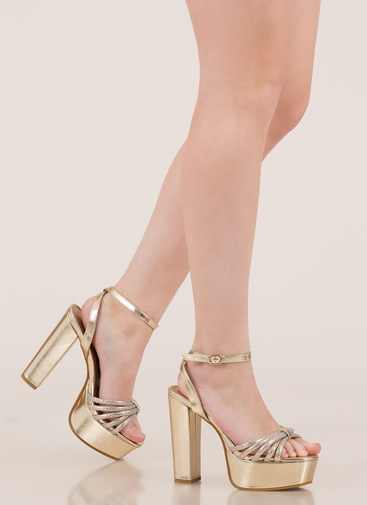 Sparkle Toes Strappy Chunky Platforms GOLD