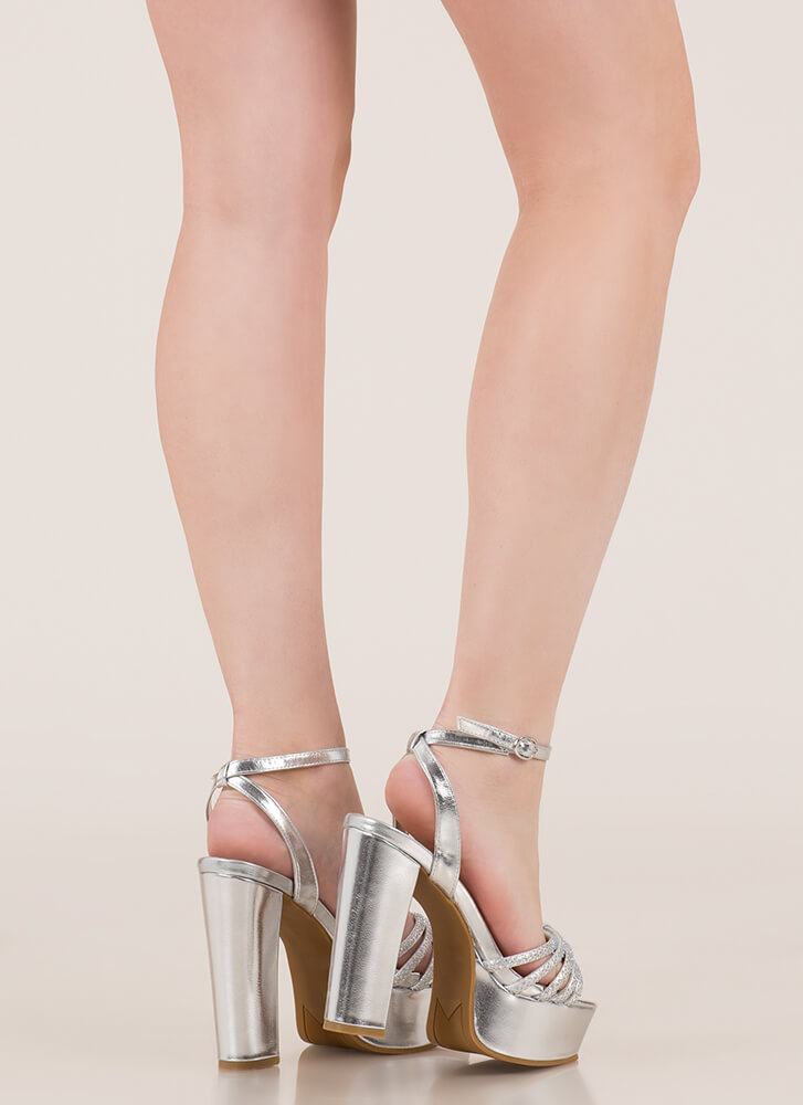Sparkle Toes Strappy Chunky Platforms SILVER