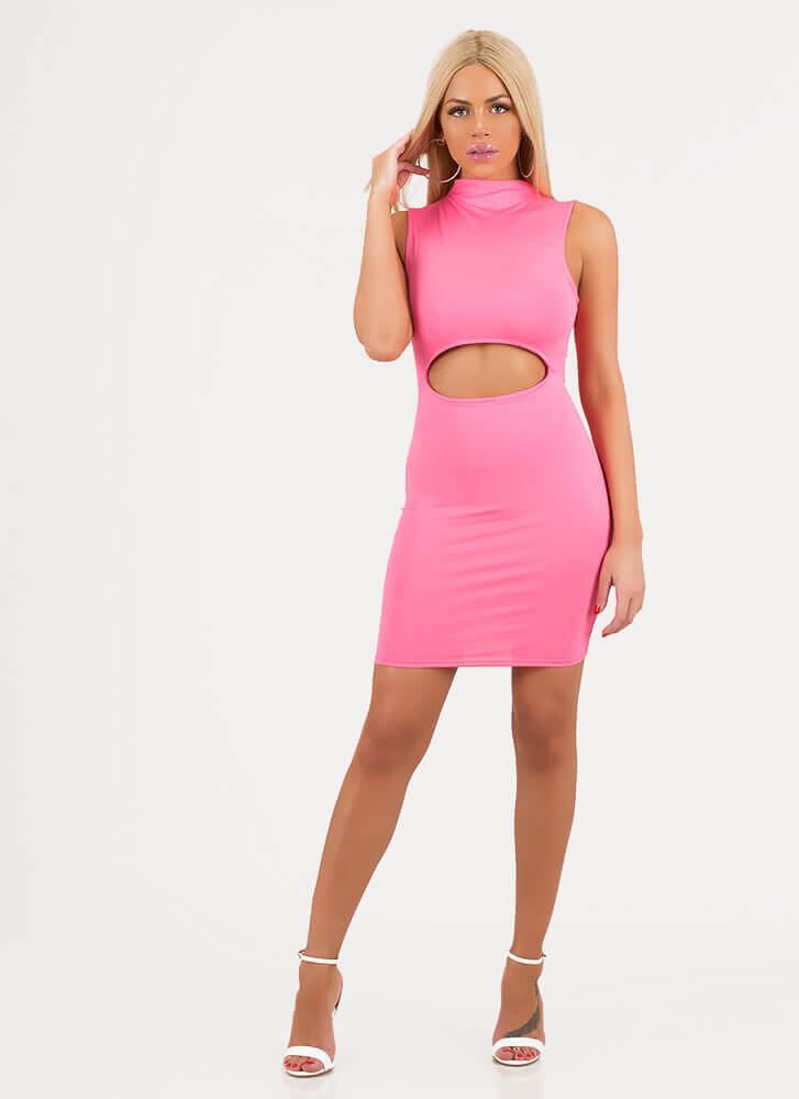 High On My Own Supply Cut-Out Minidress PINK