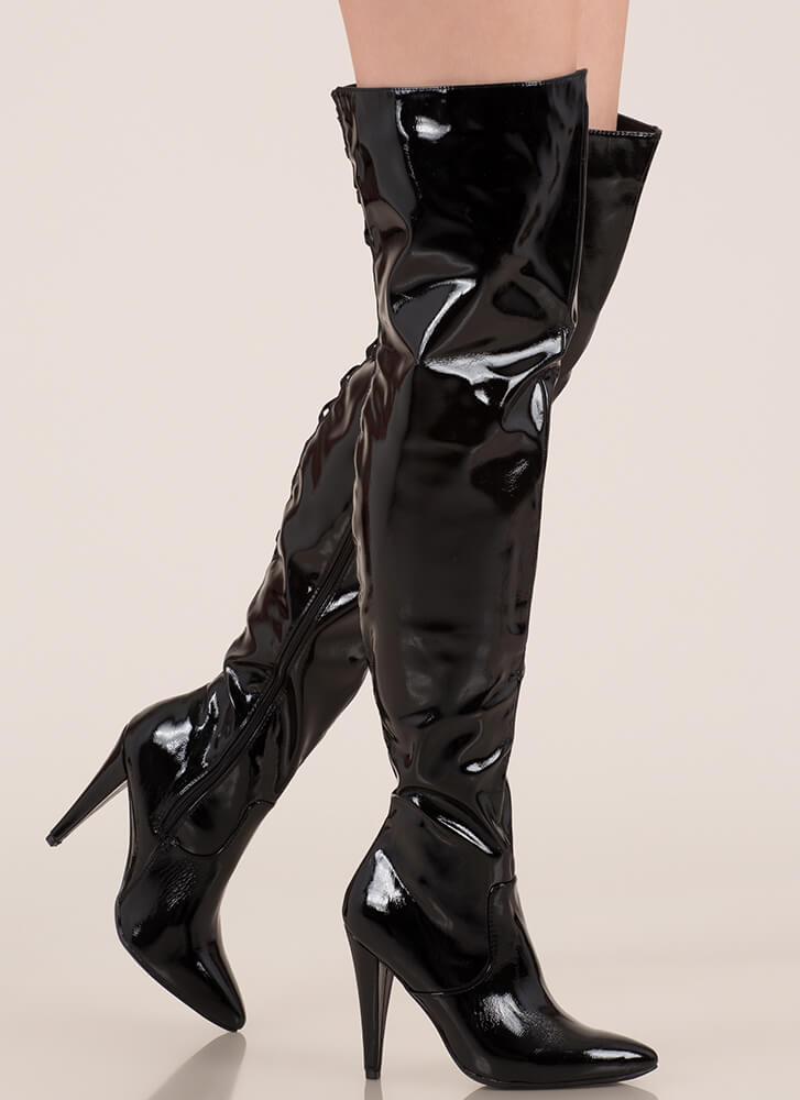 All My X's Faux Patent Thigh-High Boots BLACK
