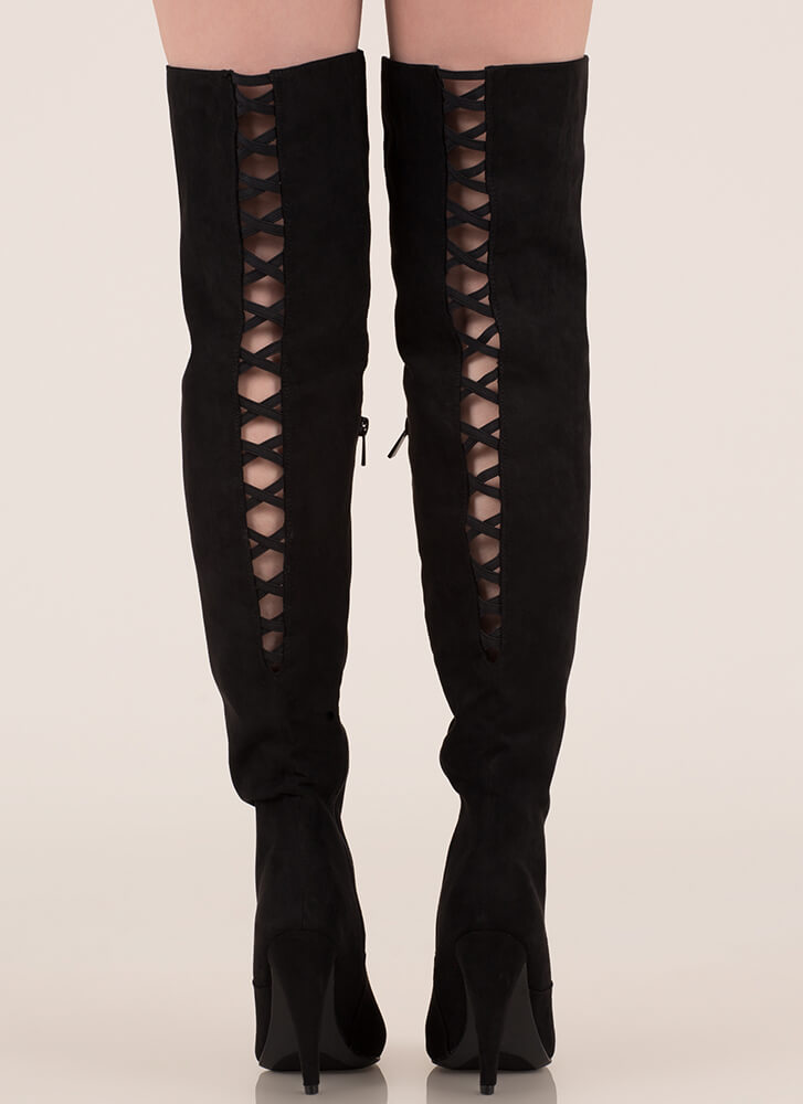 All My X's Faux Suede Thigh-High Boots BLACK