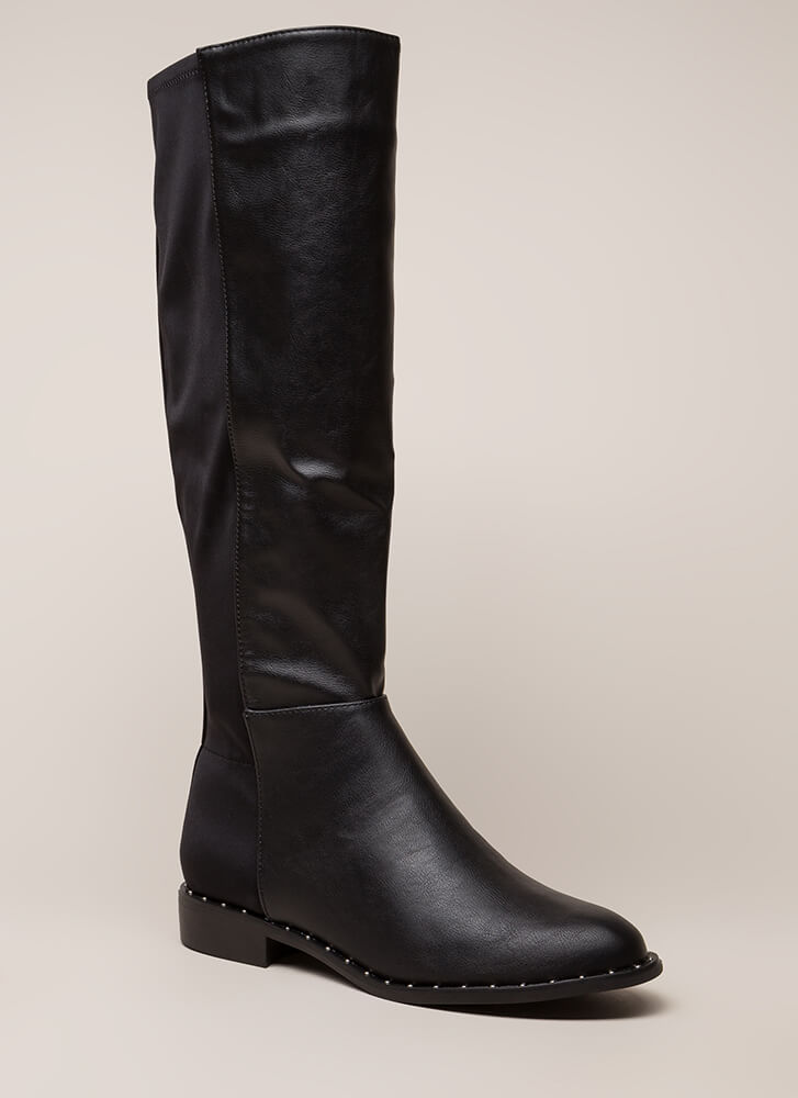 Simply Studded Faux Leather Riding Boots BLACK
