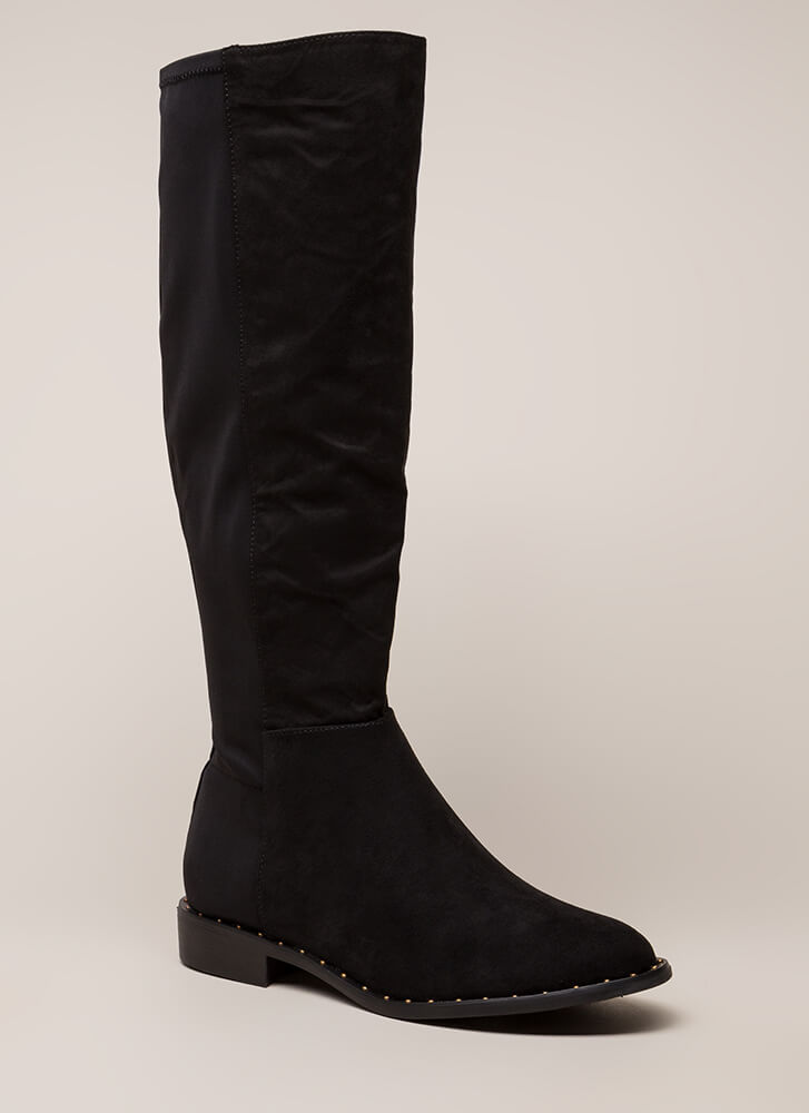 Simply Studded Faux Suede Riding Boots BLACK