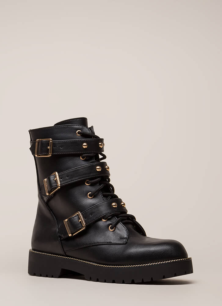 Direct Link Strappy Studded Combat Boots BLACK