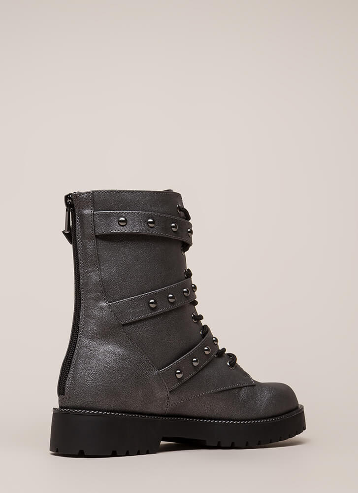 Direction Strappy Studded Combat Boots PEWTER