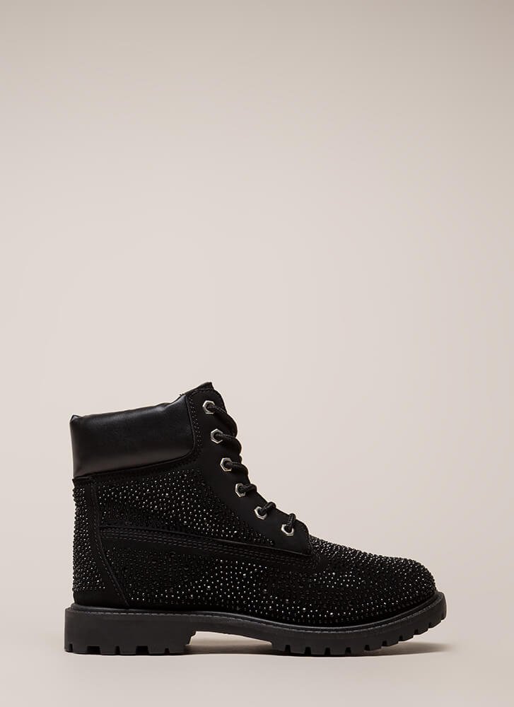 Ignition Switch Jeweled Work Boots BLACK