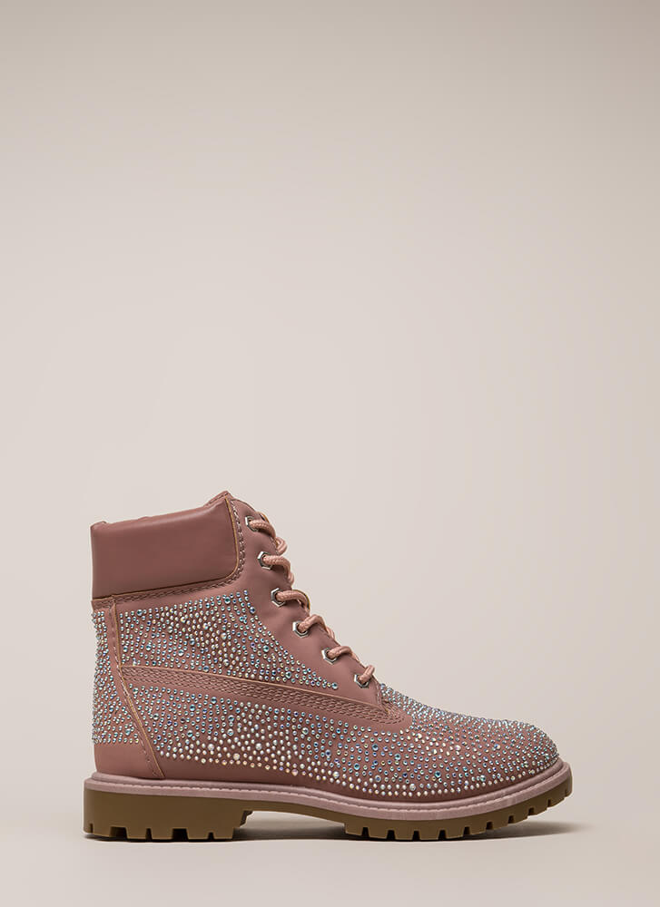 Ignition Switch Jeweled Work Boots MAUVE