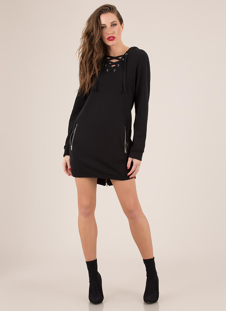 Zip Zip Hooray Lace-Up Hoodie Minidress BLACK