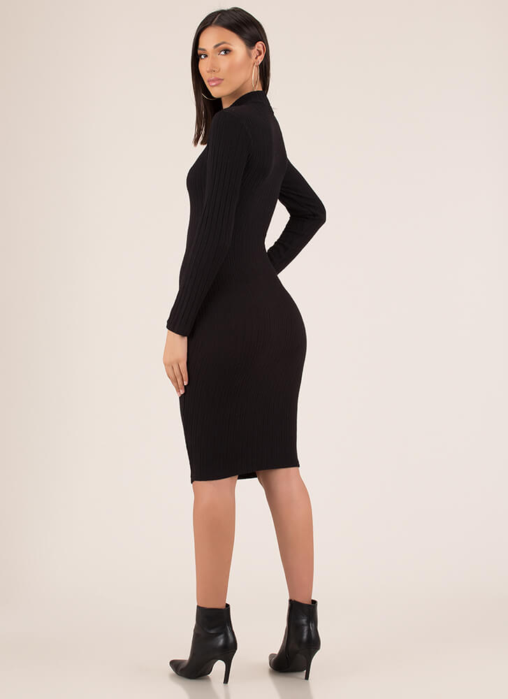 Easy Solution Rib Knit Midi Dress BLACK
