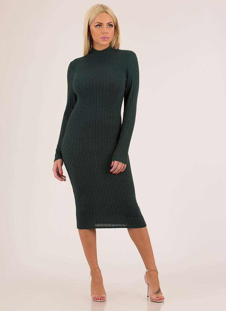 Easy Solution Rib Knit Midi Dress HGREEN