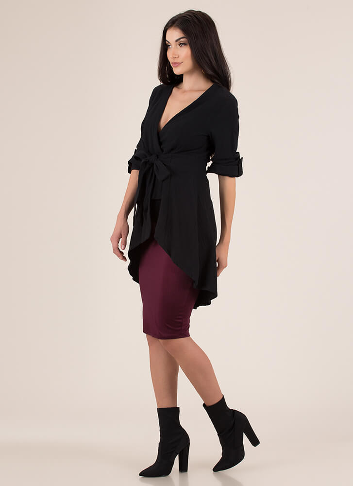A Wrapped Gift Tied Fit-And-Flare Top BLACK