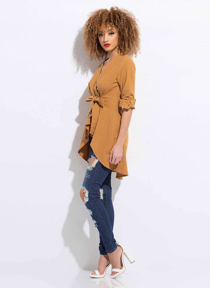 A Wrapped Gift Tied Fit-And-Flare Top CAMEL