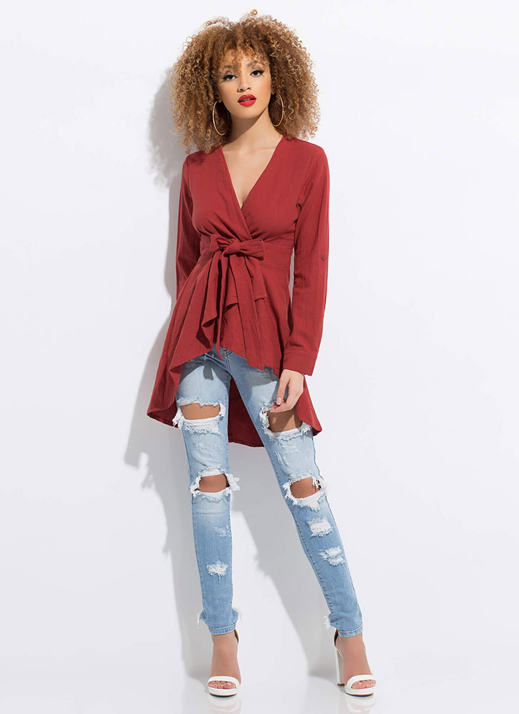 A Wrapped Gift Tied Fit-And-Flare Top SWEETPEA