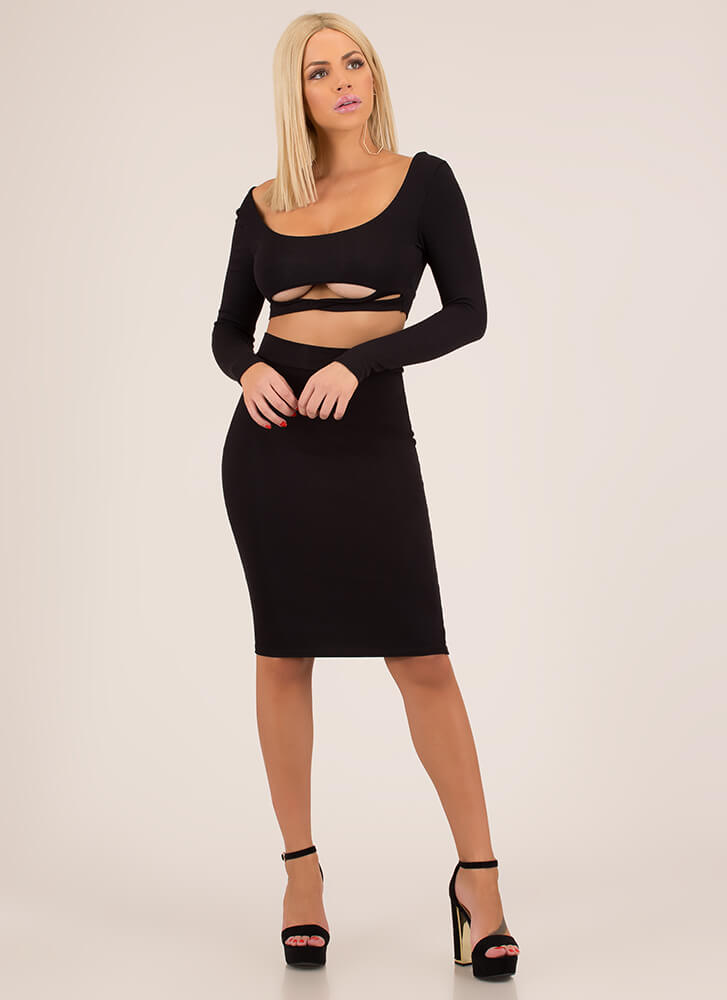 Bust Out Strappy Top And Skirt Set BLACK