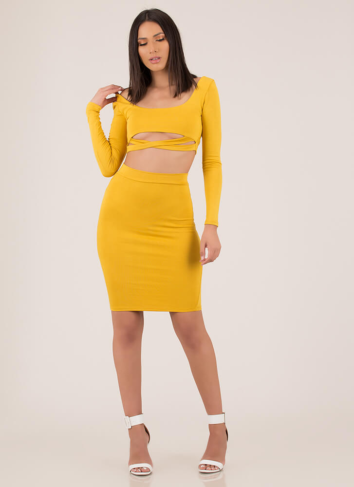 Bust Out Strappy Top And Skirt Set MUSTARD