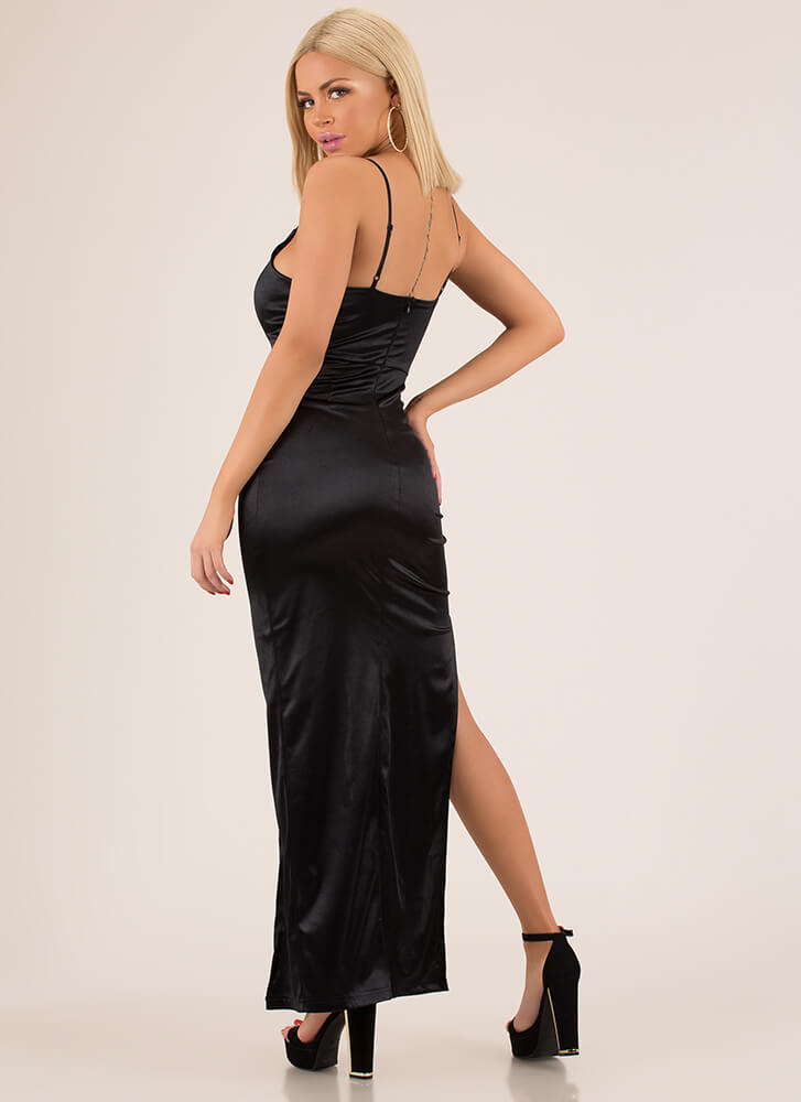 Knockout Plunging Wrapped Satin Gown BLACK
