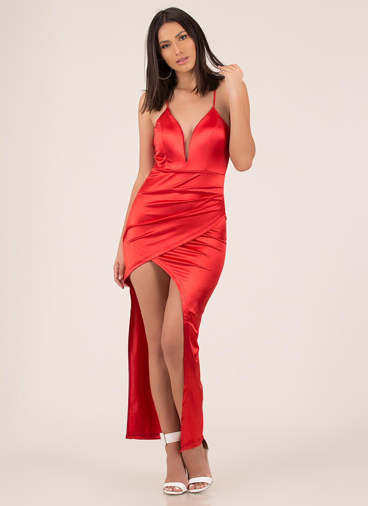 Knockout Plunging Wrapped Satin Gown RED