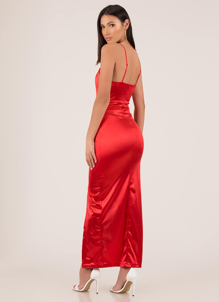 Knockout Plunging Wrapped Satin Gown RED (You Saved $21)