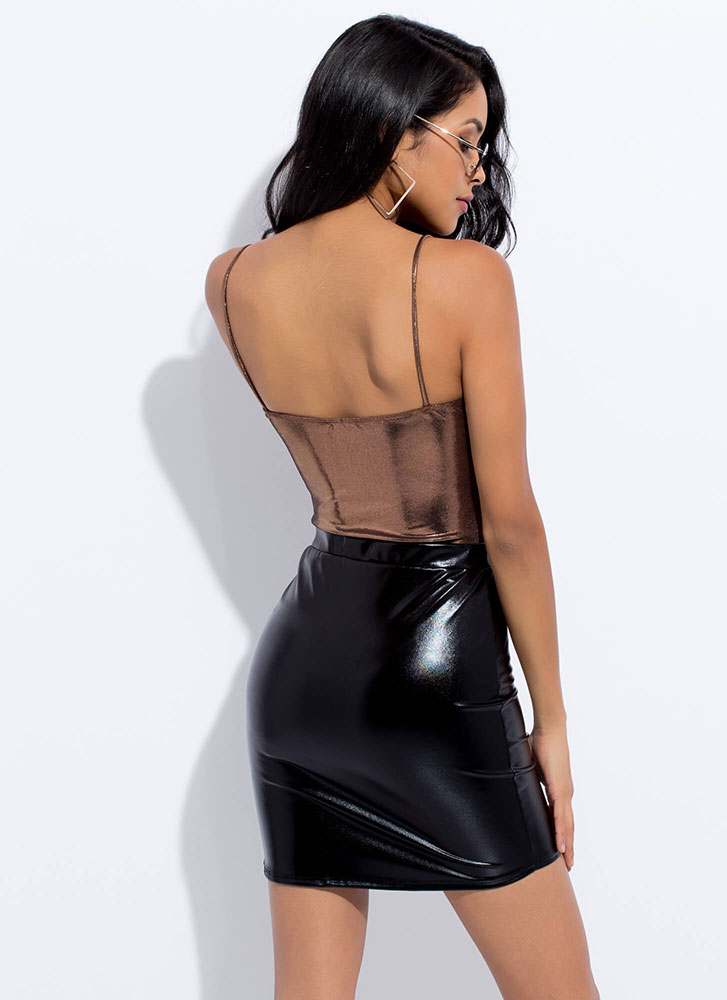 Every Night Faux Leather Miniskirt BLACK (You Saved $13)
