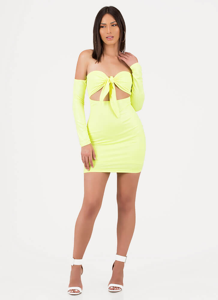 Busted Knotted Off-Shoulder Minidress NEONYELLOW