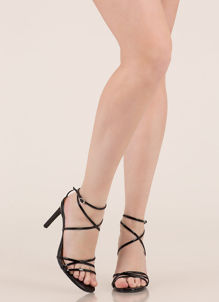 Nothing To Be Desired Strappy Heels BLACK