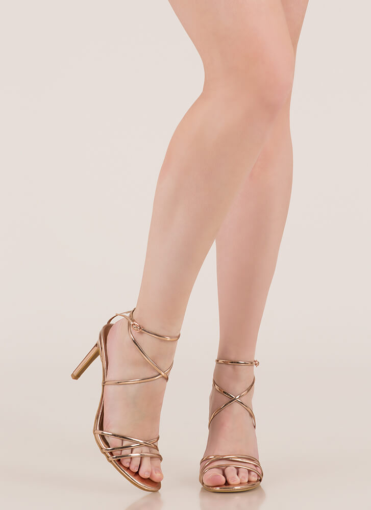 Nothing To Be Desired Strappy Heels ROSEGOLD