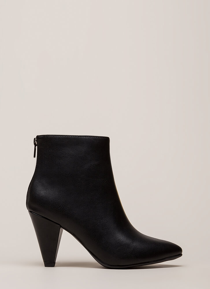Perfect Form Pointy Cone Heel Booties BLACK