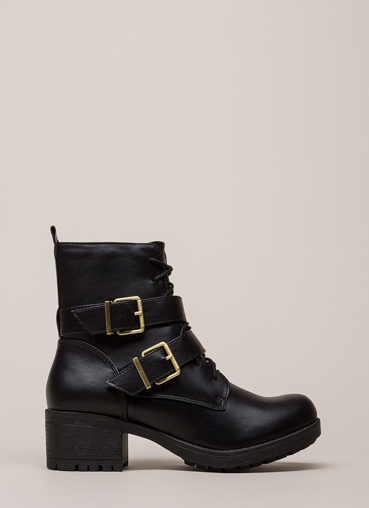 Fight Night Strappy Heeled Combat Boots BLACK