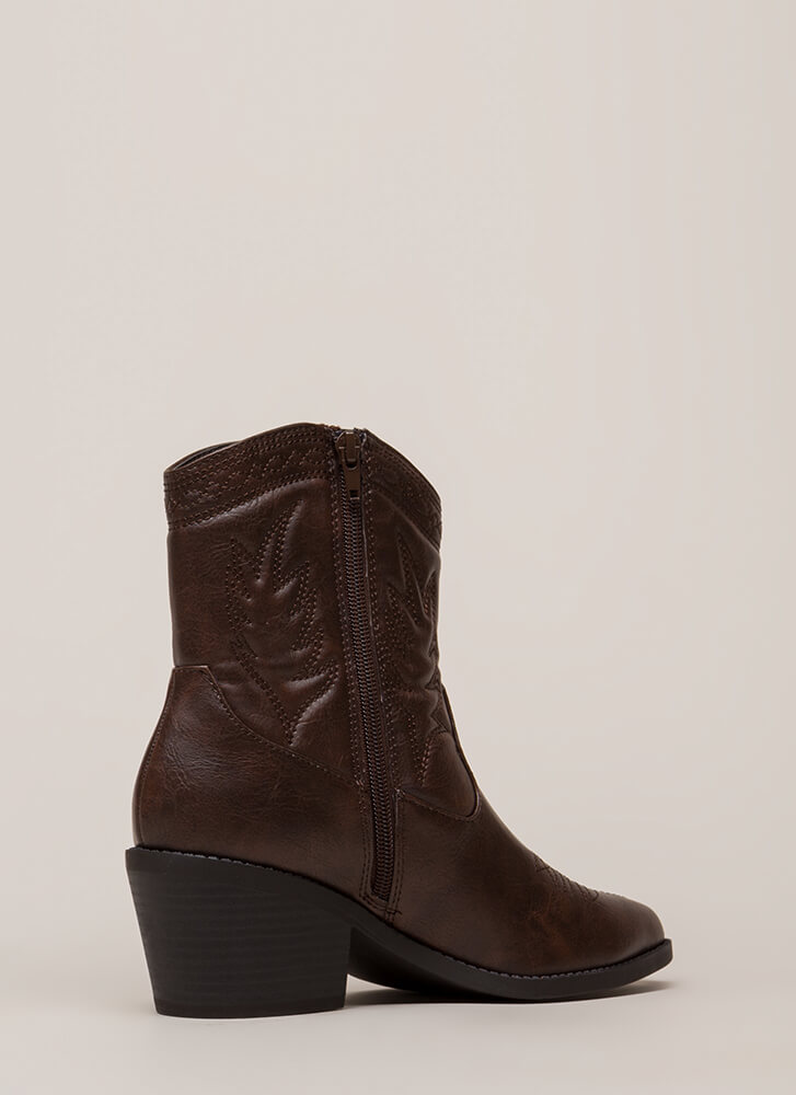On The Range Embroidered Cowgirl Boots BROWN