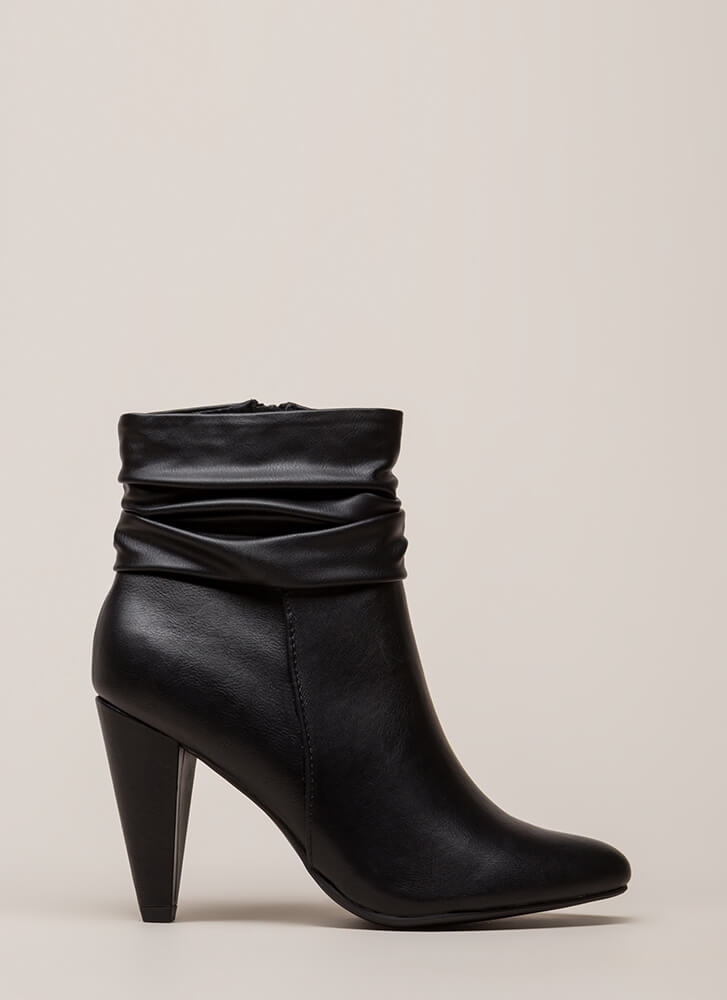 Slouchy Statement Cone Heel Booties BLACK (You Saved $28)